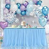 Blue Tutu Table Skirt Tulle Table Skirt for Gender Reveal Baby Boy 1st Birthday Elephant Baby Shower Bridal Shower Under the Sea Decorations 6ft