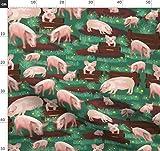 Schweine, Bauernhof, Tiere, Gras Stoffe - Individuell