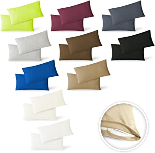 Exclusiv Heimtextil - Funda de almohada, paquete doble con cremallera, 40 x 60 cm, de jersey, Negro , 40 x 60 cm