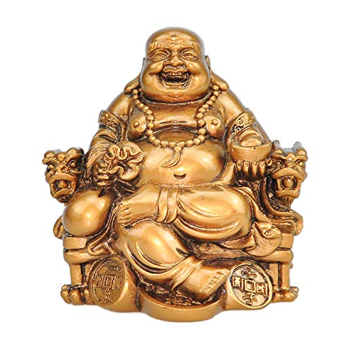 Talent Chinese Handicrafts Resin Laughing Buddha Sitting on Dragon Chair Sculpture Wealth Lucky Statue Home Decoration Gift