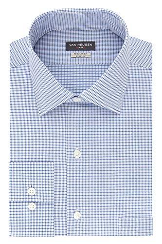 Van Heusen Men's Dress Shirt Regular Fit Flex Collar Stretch Check, Blueberry, 18.5' Neck 34'-35' Sleeve (XX-Large)