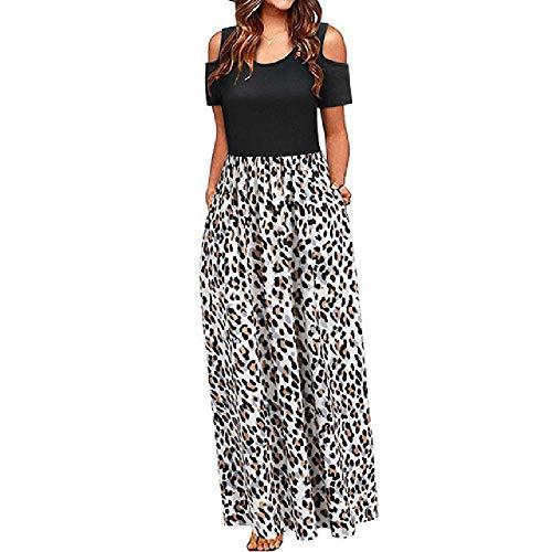 N\P Vestido de mujer de verano para mujer, con hombros descubiertos, estampado floral, elegante, vestido largo y bolsillo informal