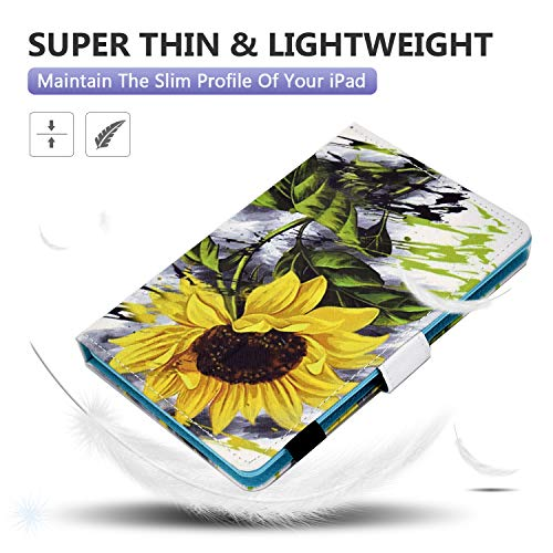 Dteck Tablet Universal Hülle, Wallet Stand Flip Case für Samsung Galaxy Tab/Onn/Lenovo Tab/Dragon Touch/Vankyo MatrixPad/LG G Pad/Huawei MediaPad/Android Tablet 8 8.3 8.4 Zoll, Sonnenblume