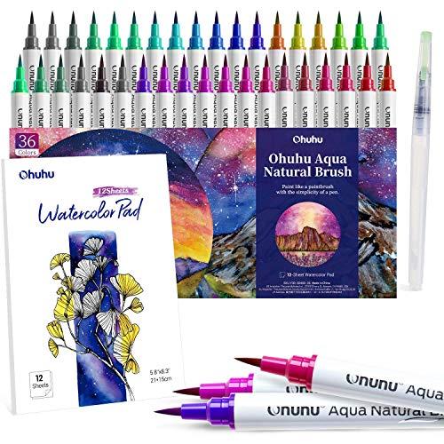 Pennarelli ad Acquerello, Ohuhu 36 Colori Brush Pen Set Tampone per Acquerello da 12 Fogli e Pennello per Sfumatura ad Aqua per Colorare, Calligrafia, Acquerelli Penne Professionali