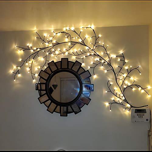 GOESWELL beleuchtete Willow Vine Wohnkultur Künstliche Weingarten Wanddekoration 144LEDs Warmes Weiß