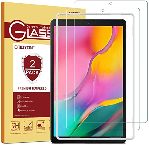 OMOTON Protector Pantalla Samsung Galaxy Tab A 10.1 T510/ T515 2019 Cristal Templado Samsung Tab A 10.1 2019 SM-T510/ T515, 2.5D Borde, Anti-arañazos, No Burbujas, 2 Piezas
