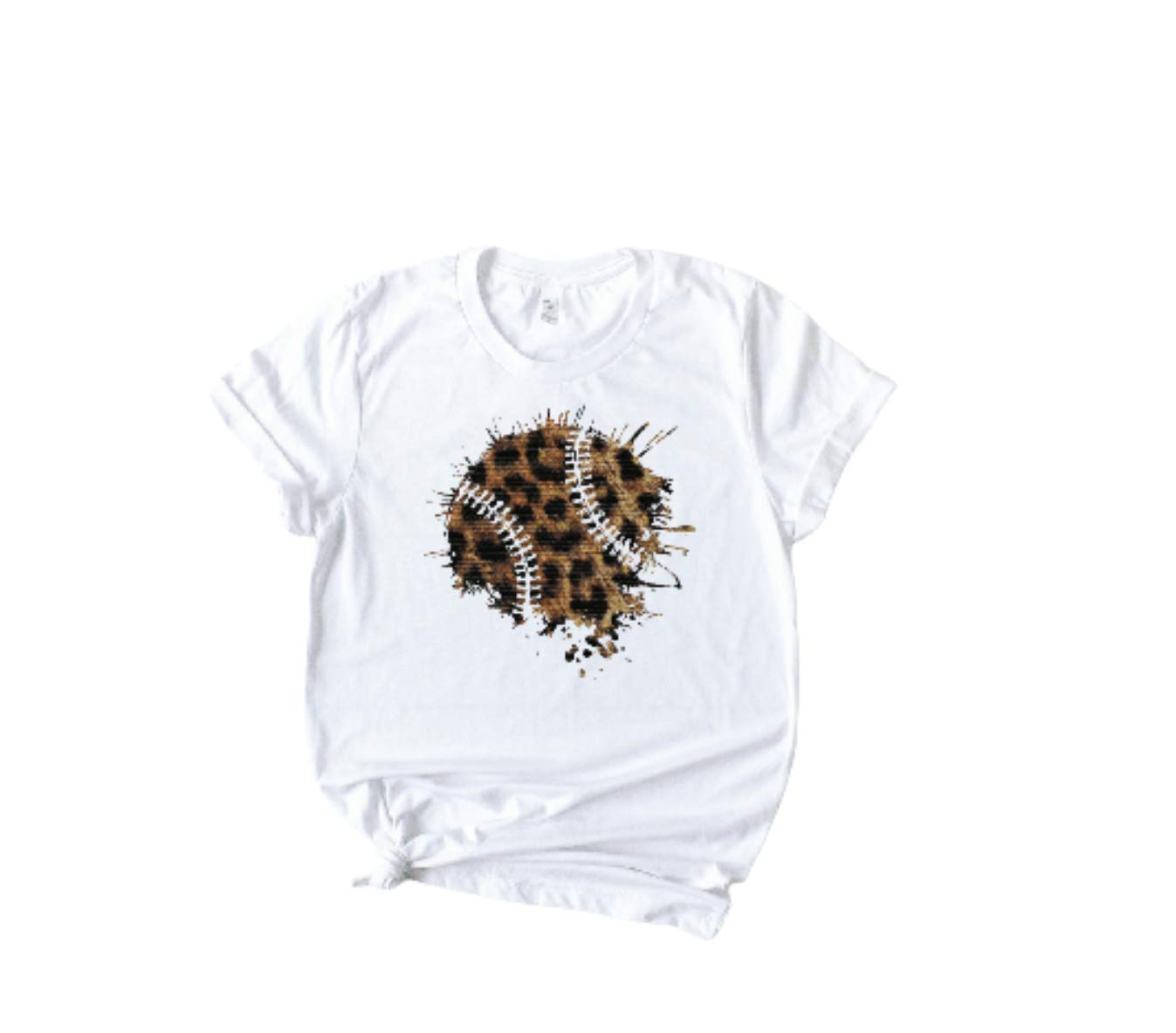 Women's Leopard Max 61% OFF Baseball Blob Mail order Little Day Sleev Short Game League