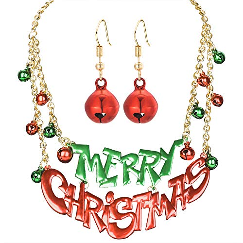Miraculous Garden Christmas Jewelry Sets Gift for Women Girls,Thanksgiving Xmas Holiday Jewelry Merry Christmas Language Blessing Necklace Bell Dangle Earrings Set.