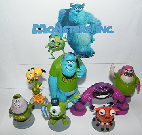 Disney Monsters Inc Deluxe Party Favors Goody Bag Fillers Set of 7 Figures with Mike Wazowski, Sulley, Art, two headed Terri and Terry and More!