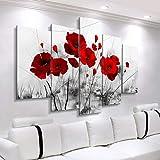 ZDDBD Pintura de Lienzo Moderna 5 Piezas Carteles de Flores combinadas Lienzo de Amapola roja Abstracta Impresiones Cuadros de Pared para Sala de Estar