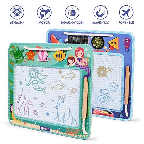 NextX Zaubertafel 2 PCS Magnetische Maltafel mit 7 Form Stampeln Tragbar Umweltmaterial Papier und Holz Lernspielzeug Kinder ab 3 4 5 6 Jahren