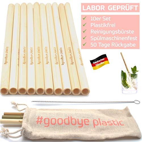 GERNEO® - Labor Geprüft - Strohhalm wiederverwendbar Bambus - 10er Set + Reinigungsbürste + Togo Bag - Rückgaberecht, kindergeeignet, umweltfreundlich & ohne Plastik
