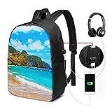 WEQDUJG Mochila Portatil 17 Pulgadas Mochila Hombre Mujer con Puerto USB, Playa de Tenerife Mochila para El Laptop para Ordenador del Trabajo Viaje