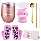 Not a Day Over Fabulous Wine Tumbler premium Stainless Steel Insulated Stemless Wine glass funny Wine Gift With Cupcake Socks Best Birthday Gift for Women Mom,Wife Sister,Daughter,Grandma,BFF,Friends