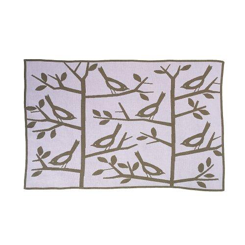 Dwellstudio - Couverture bébé arbres et oiseaux « Sparrow » (75 x 100 cm) - rose, marron