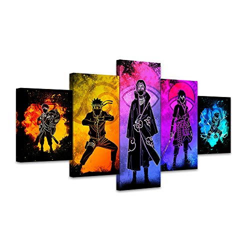 Canvas Paintings Wall Art 5 Pieces Frameless 5 panels Naruto Sasuke Kakashi Anime Poster Wall Stickers Canvas Art Paints Oil Painting HD Wallpaper Home Wall Decor Murals Gifts Large artworks (80x150cm (32x60inch), Frameless)