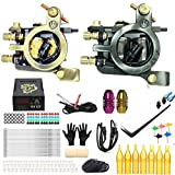 Beginner Tattoo Kit 2 Pro Machine Guns Power Supply Needle Grips...