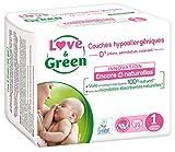 Love & Green – Pañales hipoalergénicos 0% para bebé, 23 pañales, talla 1