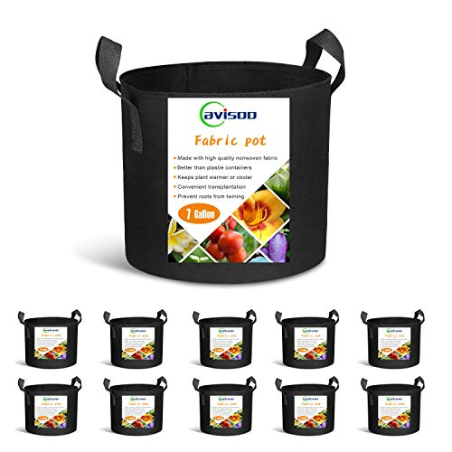 Cavisoo 10-Pack 7 Gallon Plant Grow Bags, Heavy Duty 300G Thickened Non-Woven Aeration Fabric Pots with Reinforced Handles