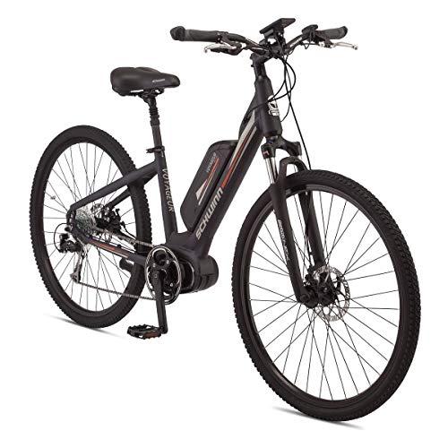 Schwinn Voyageur Electric Bike, Mid-Drive, Large Step-Through Frame, Dark Blue