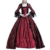 GladiolusA Disfraz De Medieval para Mujer Vestido Renacentista Traje De Princesa Vino Rojo 2XL