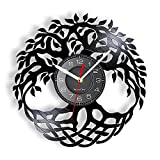 Árbol de la Vida Movimiento silencioso Reloj de Pared Sala de Estar Mundo Celta Símbolo del árbol Mitología nórdica Decoración del hogar Reloj de Vinilo LP
