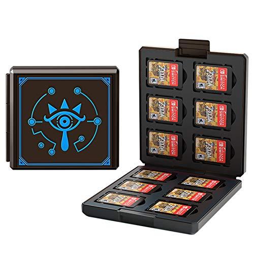 Aufbewahrungsbox für Spiele der Nintendo Switch - Silikon Etui Kompatibel Für Nintendo Switch Spiele Spielkarten mit 12 Spiele Schlüssel + 12 TF Schlüssel (Zelda das Auge)