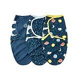Planet Sister Swaddle Blanket Baby Girl Boy Easy Adjustable 3 Pack Infant Sleep Sack Wrap Newborn Babies (Space, M)