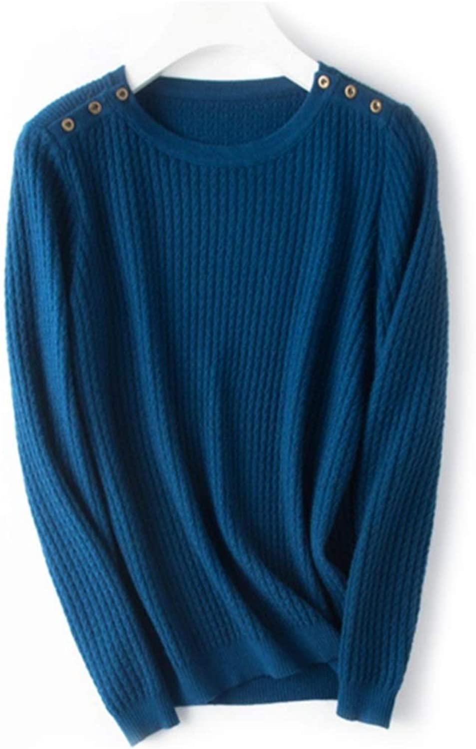 CTARCROW Women's Warm Sweater Knit Round Neck Long Sleeve Sweater for Autumn Winter (color   bluee, Size   XXXL)