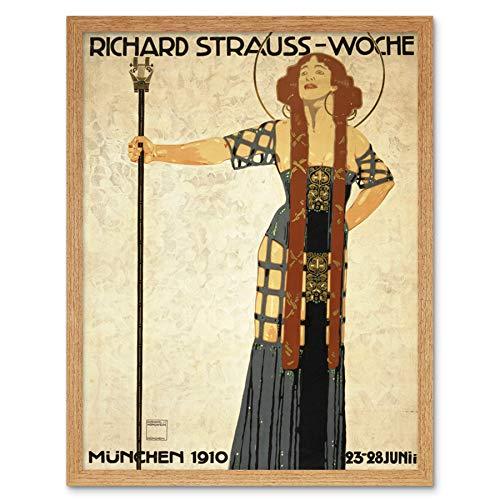 Hohlwein Strauss Music Festival Münch 1910 annons konsttryck inramad affisch väggdekor 30 x 40 cm musik reklam vägg dekoration