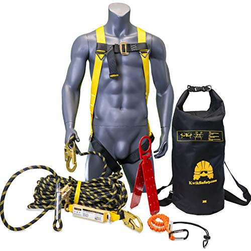 KwikSafety (Charlotte, NC) TSUNAMI KIT | 50 ft. Vertical Lifeline Rope, 1-D Ring Safety Harness, Roof Anchor, Waterproof 20L Dry Bag, Tool Lanyard ANSI OSHA Fall Arrest Restraint Protection Equipment
