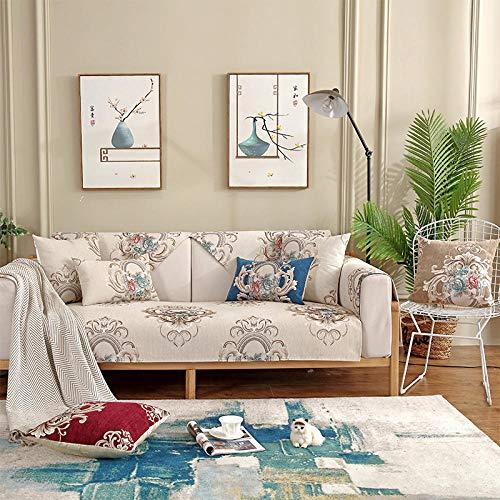 Hybad Fundas Bonitas para Sofa,Protector de sofá de Primavera y Verano,Toalla de cojín de sofá Leater,Cubierta de sofá de Tela de Sala de Estar Moderna,Protector de sofá Chenille-Beige_70 * 90cm