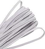 【3mm 20Metros】Cuerda Elastica, Blanco Banda Plana Elástica para Costura Y Manualidades DIY Cordon, Cordón goma para Elástico de Cuerda Tela para Coser Ropa