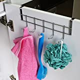 Ruiling 2 Pack Over Cabinet Door Hooks, Hanger 5 Hooks Organizer Rack - Wardrobe Hanger - Kitchen Cabinet Hook,Chrome Finish