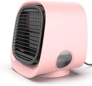 TOPYL Portable Climatizador, Mini Ventilador De Aire Acondicionado USB Humidificador,Ventilador De Refrigeración De Escritorio con 3 Velocidades para Casa Rosado 16.6x15.2x14.2cm(7x6x6inch)