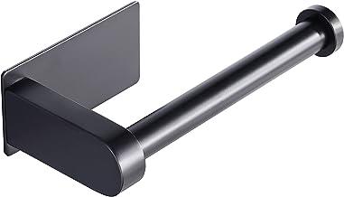 Aikzik® Toiletpapierhouder, zelfklevend, roestvrij staal, voor keuken en badkamer, zwart