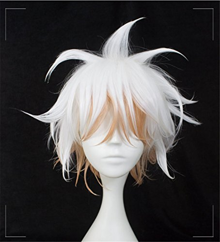 Xingwang Queen Anime Short Straight Silver Gray Cosplay Wig Men Boys Party Wigs for Christmas Halloween