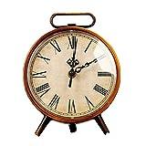 NEEPP Bronce Oro Mudo Sala de Estar Vintage Reloj Despertador Reloj Europeo Retro Decoración del hogar Mesa Artesanal de Hierro, Cobre