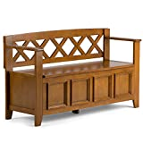 Simpli Home Amherst SOLID WOOD 48 inch Wide Entryway Storage Bench with Safety Hinge, Multifunctional, Transitional, in Light Avalon Brown