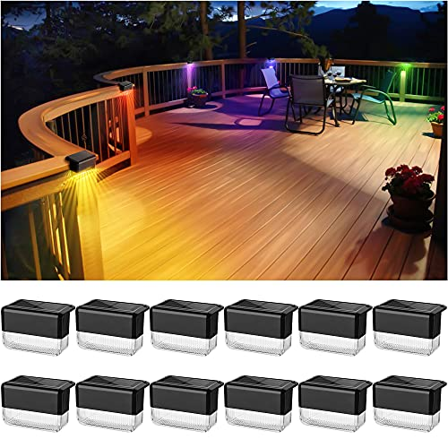 JACKYLED 12 Pack Solar Deck Lights Outdoor Waterproof LED with 2 Lighting Modes (Warm White/RGB), Solar Step Lights for Railing Garden Pathway Pool Patio Stair - Black