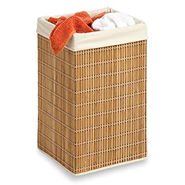 Honey-Can-Do HMP-01620 Square Wicker Hamper, Clothing Organizer, Bamboo
