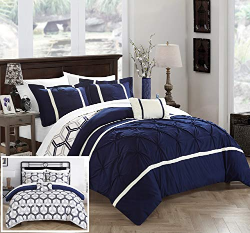 Chic Home Marcia 4 Piece Comforter Set Printed Pinch Pleated Ruffled and Reversible Geometric Design with Decorative Pillow and Sham, Full/Queen, Navy