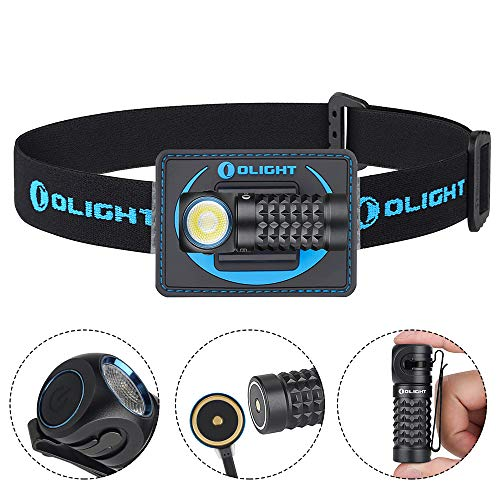 Olight Perun Mini 1000 Lumens Cool White Compact Multi-Use 16340 Rechargeable Handheld Flashlight Headlamp,SKYBEN Battery Box Included(Black With Headbend)