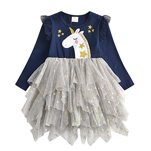 DXTON Vestidos para Niñas Vestido Patrón de Unicornio Vestido Princesa Fiesta Ropa de Niña LH4772-3Y
