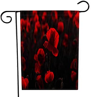 EMMTEEY Holiday Garden Flag Double Sided Burlap Decoration 12.5x18 Inch for Yard Outdoor Decor Garden Flag Flowers Red Poppies Blossom on Wild Field Beautiful with Focus in Soft Light Opium Poppy of