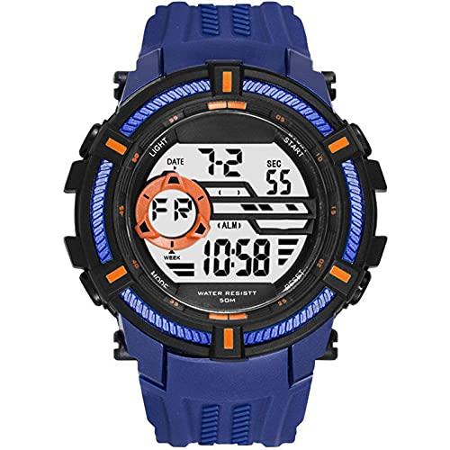 WNGJ Relojes Deportivos Gran dial electrónico 50 M Reloj Digital Impermeable para Hombre Resistente a Hombre Doal Pantalla de Pulsera Relojes electrónicos Relojes deporti Blue