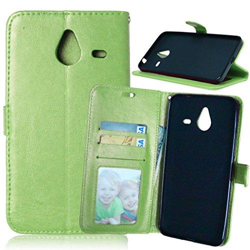 YYhin Case per Cover Nokia Microsoft Lumia 640XL - Custodia Protettiva in Pelle Morbida di Alta qualità per Portafoglio con Custodia Chiusura Magnetica Slot per schede(DK07/verde)