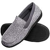 Hanes Men's Slippers House Shoes Moccasin Comfort Memory Foam Indoor Outdoor Fresh IQ, Grey, LG