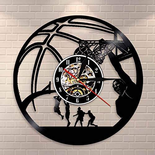 KEC Reloj de Pared de Vinilo Vintage, Reloj de Baloncesto, Salto, clavada, decoración Deportiva, Jugador de Baloncesto, Reloj de Mermelada de una Mano