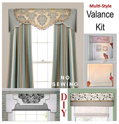 Transform Your Windows Without Sewing, Three No-Sew Cornice, Valance Styles In One Kit, Fit All Window Sizes Including Bay Windows, Reusable, Pattern, Curtain, For Kitchen, Bedroom, DIY, Room Decor